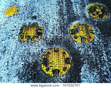 Retarder or zebra crossing in winter in the city