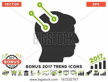 Eco Green And Gray Neural Interface Connectors pictogram with bonus 2017 year trend pictograms. Vector illustration style is flat iconic bicolor symbols, white background.
