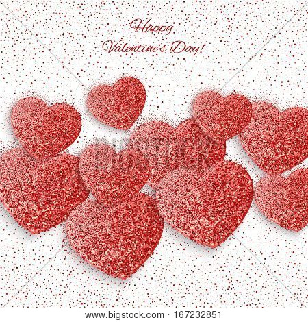 Festive background with heart made of red glitters