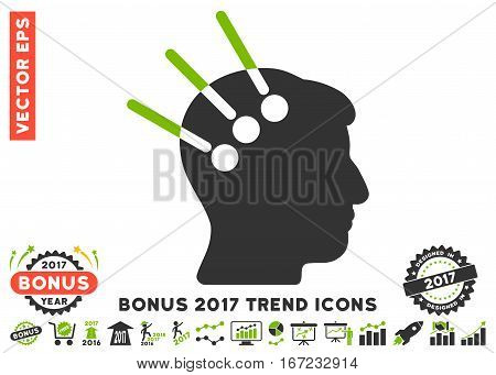 Eco Green And Gray Neural Interface pictograph with bonus 2017 year trend pictograms. Vector illustration style is flat iconic bicolor symbols, white background.