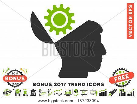 Eco Green And Gray Open Head Gear pictogram with bonus 2017 trend clip art. Vector illustration style is flat iconic bicolor symbols, white background.