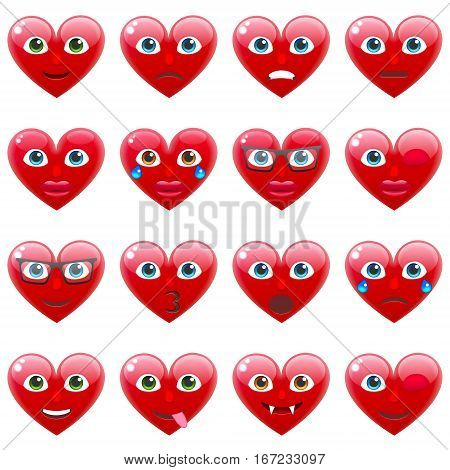 Set of Sexy Red Heart Smile Emoticons for Saint Valentine's Day. Winking Heart Emoji for 14th of February
