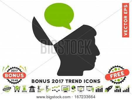 Eco Green And Gray Open Mind Opinion pictogram with bonus 2017 trend pictograms. Vector illustration style is flat iconic bicolor symbols, white background.