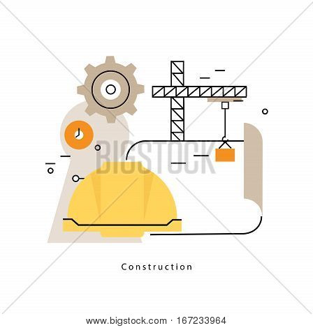 Project management flat line business vector illustration design banner. Engineering, building and measurement concept for mobile and web graphics