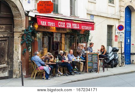 Paris France-May 21 2016: The restaurant Casa San Pablo is tapas and wine bar of Basque cuisine located in Marais district of Paris.