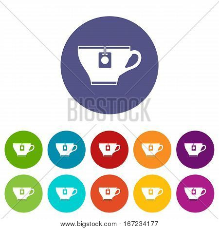 Cup with teabag set icons in different colors isolated on white background