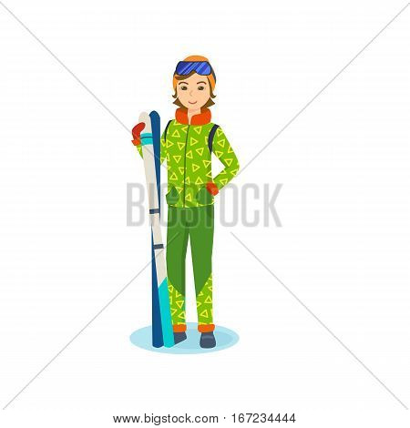 Concept - people and winter sports. Young girl in winter clothes, standing in a park on a hillside, holding ski in the hands. Vector illustration. Can be used in banner, mobile app, design.