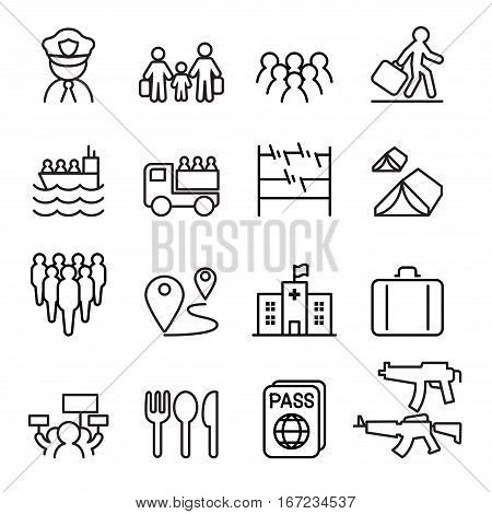 Refugee & immigrant icons set in thin line style