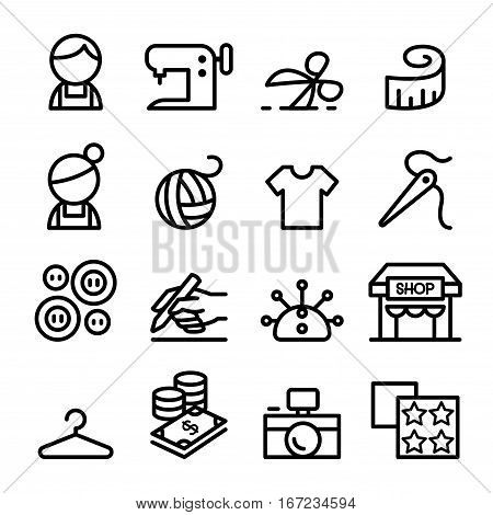 Fashion design tailor Dressmaker sewing icons set in thin line style