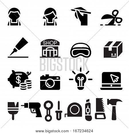 DIY Workshop Craftsman craft icon set  vector illustration graphic design