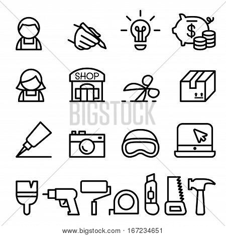 Craftsman DIY Craft Product design icon set in thin line style