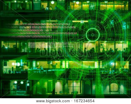 cyber laser target on a night city blurred background
