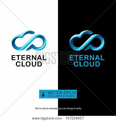Creative eternity cloud logo with speech balloon for your corporate designs. Modern isolated vector icon.