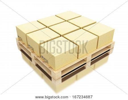 3d illustration. Cardboard boxes on pallet. Delivery and transportation package concept. Isolated white background