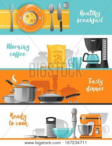 Kitchen utensil flat horizontal banners collection with tableware for breakfast coffee machine mixer blender and kitchenware for cooking vector illustration