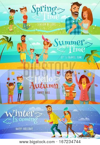 Horizontal cartoon banners with happy family spending time together in different seasons isolated vector illustration
