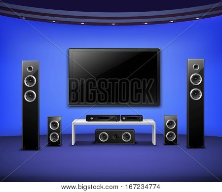 Home theater realistic interior concept with attached to the wall tv acoustic speakers and video player vector illustration