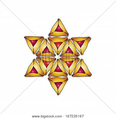 David star for Happy Purim greeting card background. Purim Jewish Holiday poster with star David of traditional hamantaschen cookies isolated on white background. Vector illustration