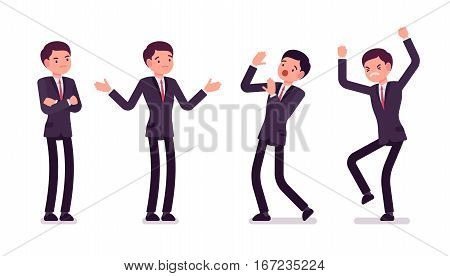 Young businessmen in formal wear, standing hands crossed on chest, puzzled, afraid, angry, stamping feet, body language postures, negative expression, full length, isolated against white background