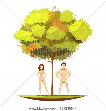 Adam and eve in eden garden ander apple tree with forbidden fruit of knowledge cartoon vector illustration
