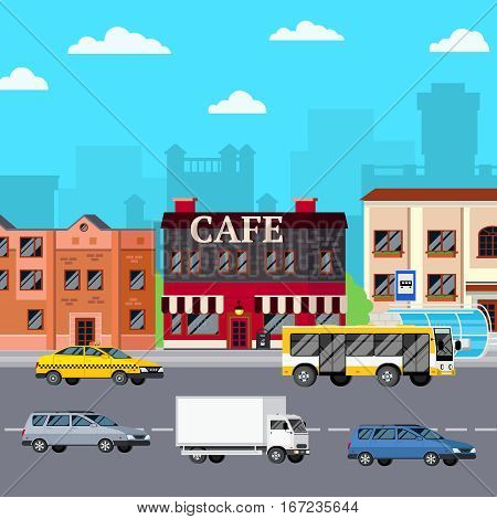 Street cafe composition with orthogonal images of storefront city buildings bus stop cars on carriage way vector illustration