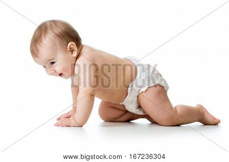 Baby child crawling over white isolated background