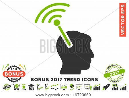 Eco Green And Gray Radio Neural Interface pictograph with bonus 2017 trend images. Vector illustration style is flat iconic bicolor symbols, white background.