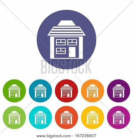 Two-storey house with sloping roof set icons in different colors isolated on white background