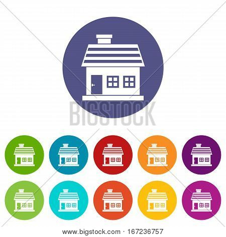 One-storey house set icons in different colors isolated on white background