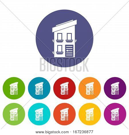 Two-storey house set icons in different colors isolated on white background