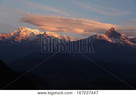 Beauty, Nature And Grandeur. Breathtaking Panoramic View Of Ancient Mountain Range With Snow Capped