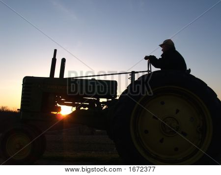 Silhoutte Of Tractor