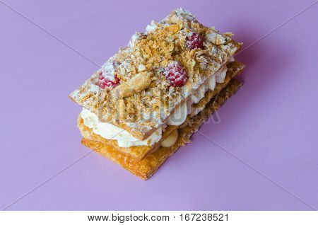 Costrada Or Millefeuille With Raspberries And Icing Sugar