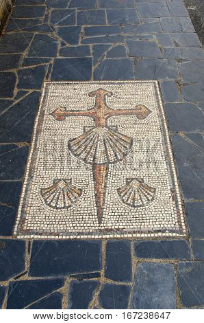 Cross Of Saint James In Sarria Camino De Santiago