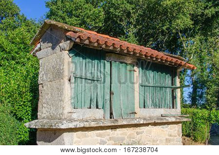 Typical Granary Called Horreo In Galicia Spain
