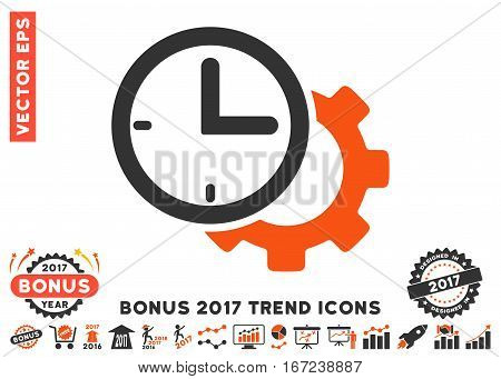 Orange And Gray Time Setup Gear pictogram with bonus 2017 year trend symbols. Vector illustration style is flat iconic bicolor symbols, white background.