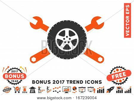 Orange And Gray Tire Service Wrenches icon with bonus 2017 year trend icon set. Vector illustration style is flat iconic bicolor symbols, white background.