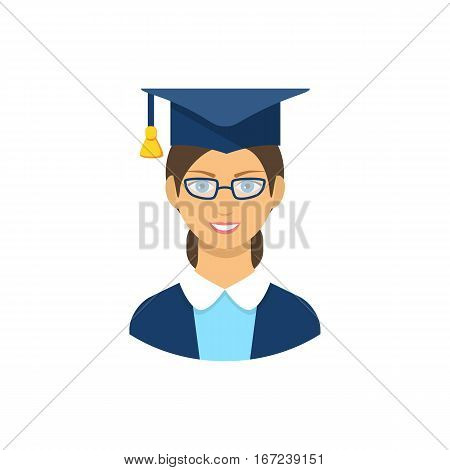 Graduate student icon, pictogram icon on white background. Girl  graduate in gown.Vector illustration