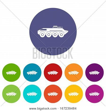 Armored personnel carrier set icons in different colors isolated on white background