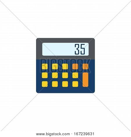 Calculator icon on white background. Top View of electronic calculator. Flat design style.