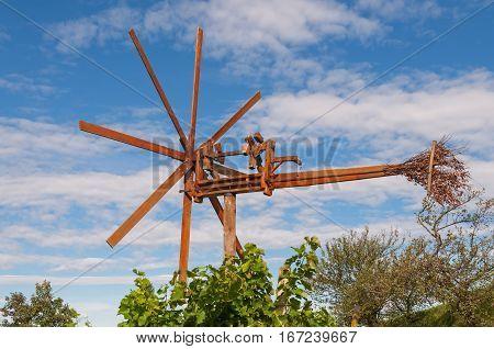 klapotetz - a traditional styrian wind wheel in a vineyard