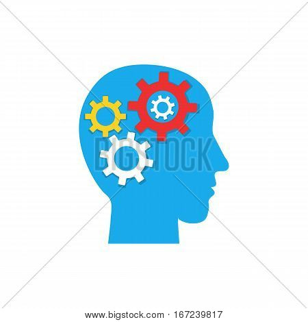 Pictograph of gear in head. Brain gears in the head, human thinking concept. Vector flat icon.