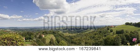 View from Kitzeck in Styria to Graz on a sunny day