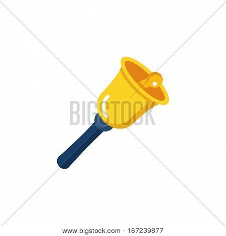 Bell simple single color icon isolated on white background. Bell icon for web and mobile. Back to school concept. Vector illustration in flat style.