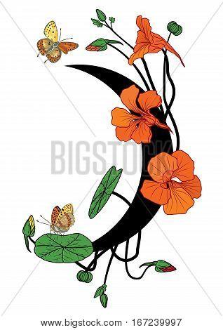 vector illustration with nasturtium butterflies and moon