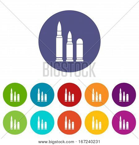 Bullets set icons in different colors isolated on white background