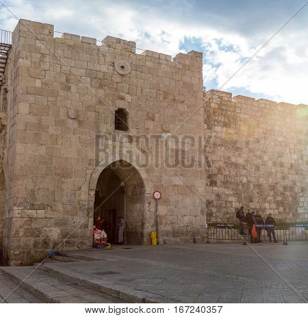 JERUSALEM ISRAEL - DECEMBER 8: Herod's Gate or Flowers Gate one of the gates to the Old City of Jerusalem Israel on December 8 2016
