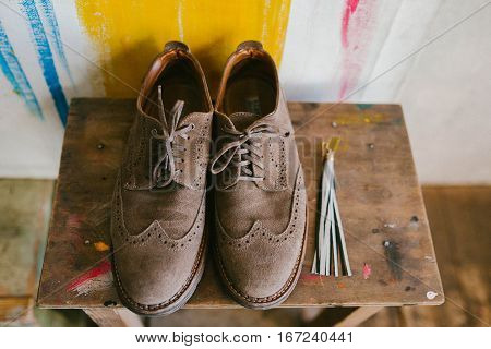 Suede men's shoes Brown. Fashion, male, guy