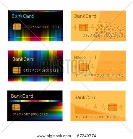 Vector collection of black and gold Credit Card isolated on white background. Bank card design set