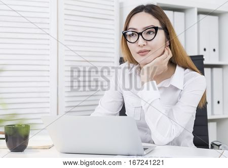 Asian Girl Thinking About Success